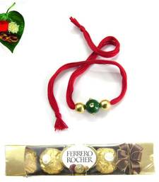 Buy Red n Green Jewel Rakhi With Chocolate  rakhi-with-chocolate online
