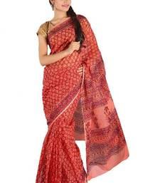 Buy Kota doria hand block saree cotton-saree online