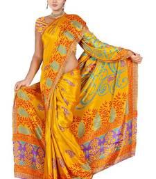 Buy Bhuwal Fashion Floral Prints Turki Silk Mustard Colour Saree art-silk-saree online
