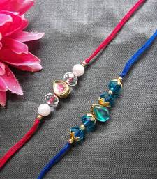 Blue and White Kundan Pearl Rakhi shop online