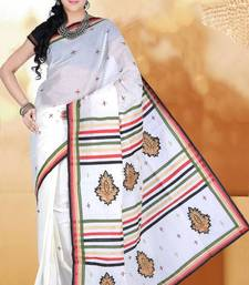 Buy Off-white Cotton Embroidered Party and Festival Saree cotton-saree online