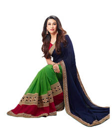Buy Blue & Green Embroidered Saree flat bamberg fashion saree designer-embroidered-saree online