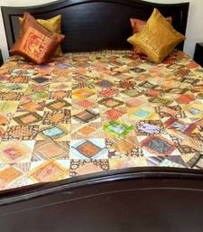 Buy Brocade Square Pattern Bed Cover- Brown Border bed-sheet online