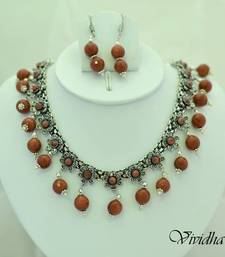 Buy White Metal and Sand Stone Beads Necklace set necklace-set online