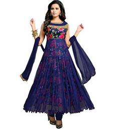 Buy Neavy blue embroidered net semi stitched salwar with dupatta semi-stitched-salwar-suit online