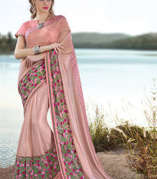 Buy Light peach embroidered georgette saree with blouse wedding-saree online