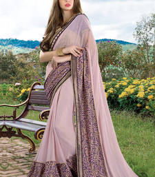 Buy Baby pink embroidered georgette saree with blouse wedding-saree online