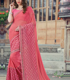 Buy Light red embroidered georgette saree with blouse wedding-saree online