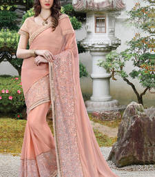 Buy Peach embroidered net saree with blouse wedding-saree online