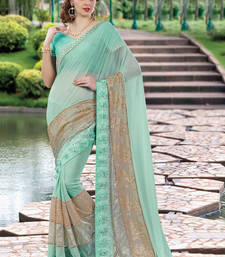 Buy Sky blue embroidered georgette saree with blouse wedding-saree online