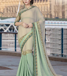 Buy Beige embroidered chiffon saree with blouse wedding-saree online
