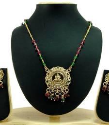 Aria Laxmi coin temple jewellery cz gold tone necklace set a10 shop online