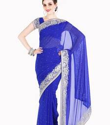 Buy Diwali Discount Offer Stylist Blue Faux Georgette Saree with Blouse diwali-discount-offer online