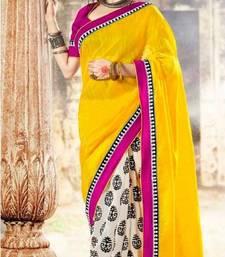 Buy Designer Yellow & Off-white Bhagalpuri Silk Saree viscose-saree online
