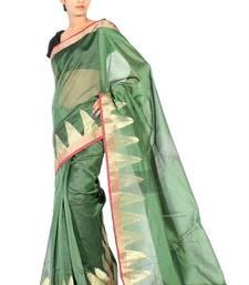 Buy Supernet Cotton Temple Zari Border Saree supernet-saree online