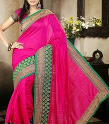 Buy Sophisticated Magenta Color Bhagalpuri Silk Saree with Blouse bhagalpuri-silk-saree online