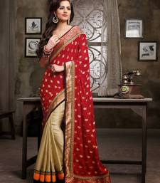Buy Beige With Maroon Satin Georgette Designer Saree georgette-saree online