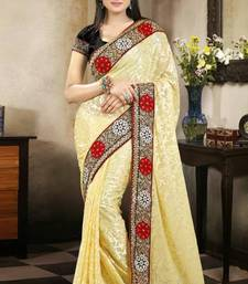 Buy Passion Cream Color Brasso Saree with Blouse brasso-saree online