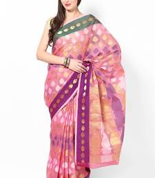 Buy Moonga cotton check fancy multi zari banarasi saree banarasi-saree online