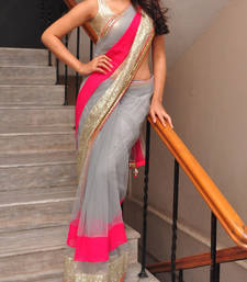 Buy Shraddha Das Net Grey Embroidered Bollywood Style Saree net-saree online
