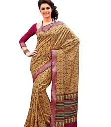 Buy Aria printed beige raw silk saree 2372 tussar-silk-saree online