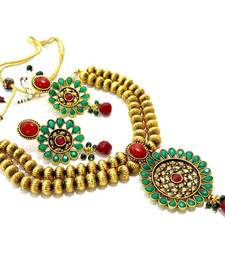 Buy 2 layer gold Multi stone green necklace-set online