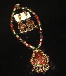 Buy Minakari and kundan Stud set necklace-set online