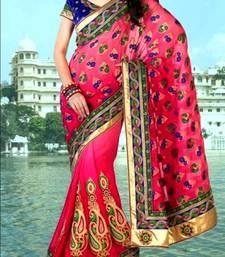 Buy Indian Ethnic Replica Red Viscose Saree chiffon-saree online