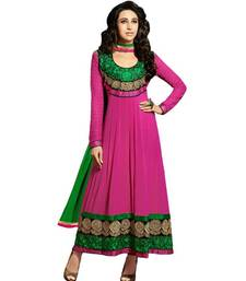 Buy Riti Riwaz pink gerogette semi stiched anarkali suit with dupatta anarkali-salwar-kameez online