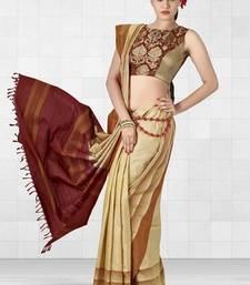 Buy Beige Color Handloom Silk Saree with Geometrical Design - SR3959 silk-saree online