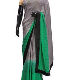 Buy Pretty Grey & Green Sequien Designer Georgette Saree with Black Blouse - SR4443 printed-saree online