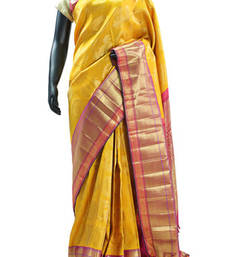 Buy Bright Yellow self -weaved Kanchipuram Silk Saree with Peacock & Sun motifs - SR4479 silk-saree online