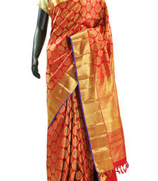 Buy Red Wedding Wear Pure Kanchipuram Silk Saree with Red Zari Border - SR4481 silk-saree online