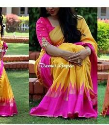Buy Yellow printed bhagalpuri saree with blouse bhagalpuri-silk-saree online