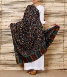 Buy Bluish Black kani pashmina blend Shawl shawl online