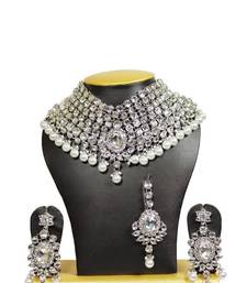 Buy Fusion Crystal and Kundan Bridal Necklace Set in Silver Outline Necklace online