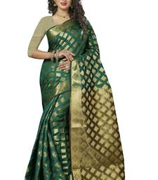 Buy firozi hand woven banarasi silk saree with blouse banarasi-silk-saree online