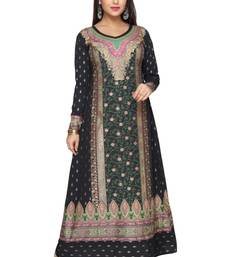 Buy Black with Green  American Crepe Printed Long Kaftan  with Long Sleeves kaftan online