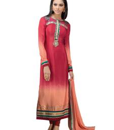 Buy Peach  faux crepe salwar with dupatta semi-stitched-salwar-suit online
