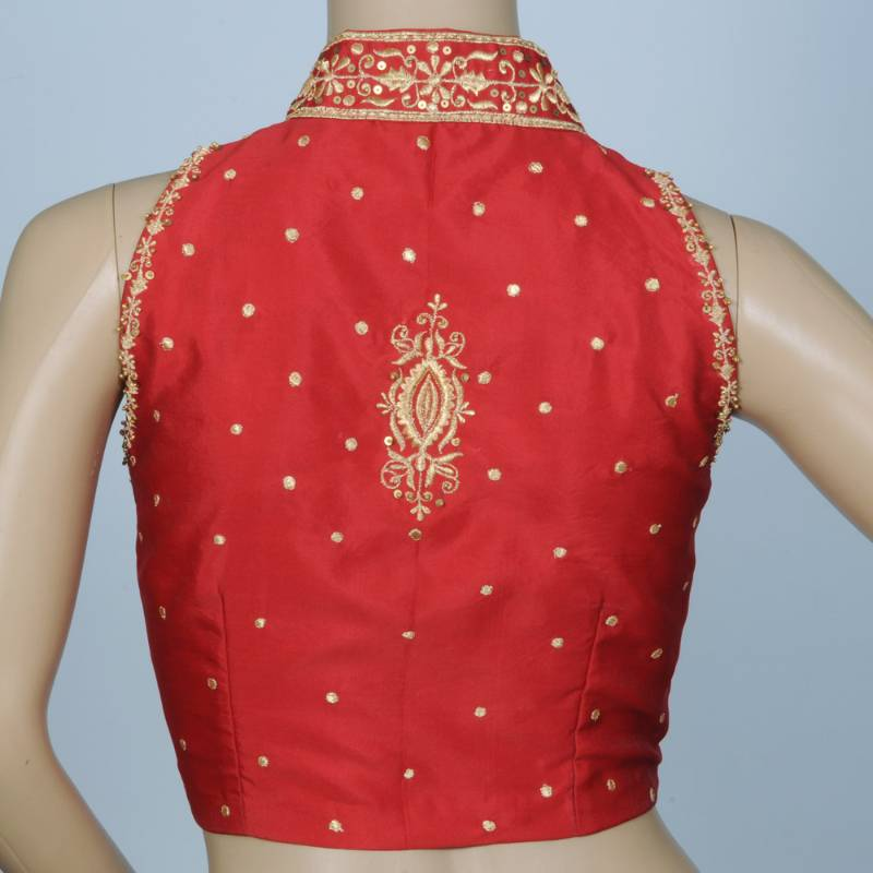 Stand Color Blouse Designs : Buy stand collar with delicate machine embroidery in blood