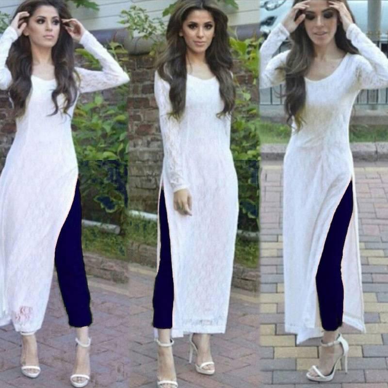 Buy White Plain Rasal Net Salwar Kameez Online