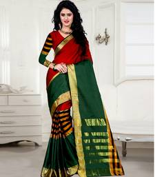 Buy Maroon & green cotton silk saree with blouse cotton-saree online