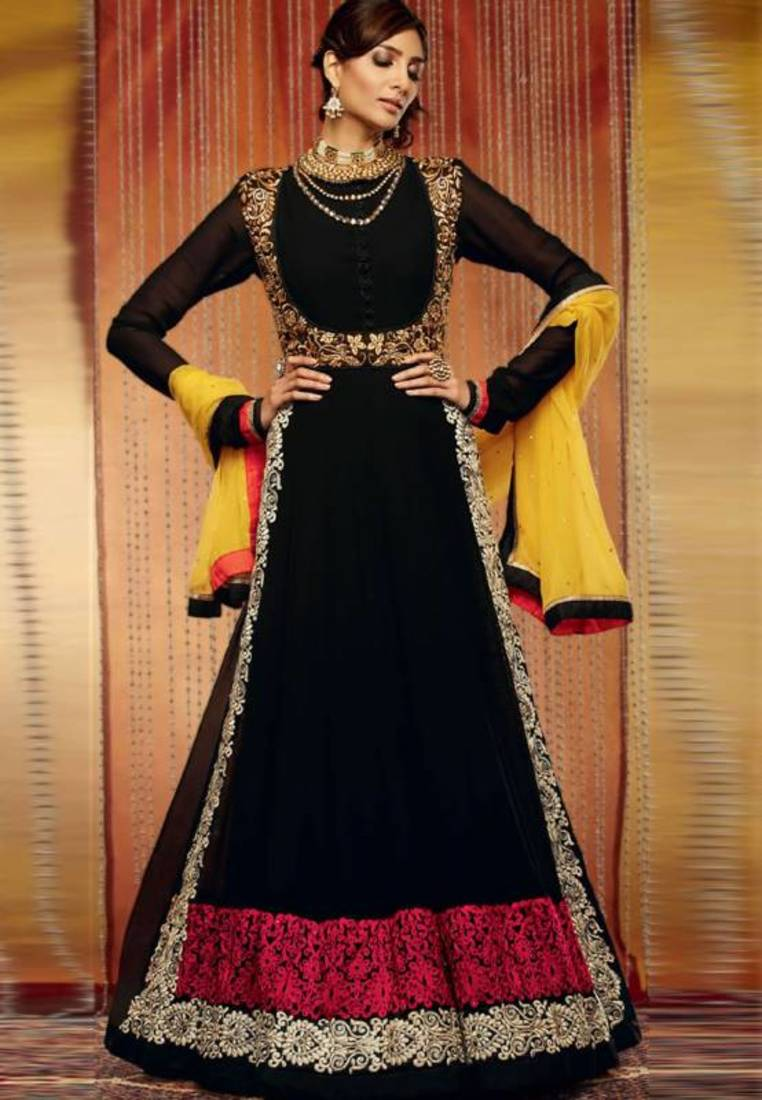 Buy black color embroidered semi stitched designer for Online suit builder