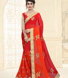 Buy orange dori_embroidery Georgette saree with blouse georgette-saree online