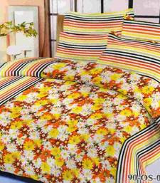 Buy Aria 100% cotton double yellow floral printed bedsheet 00491 bed-sheet online