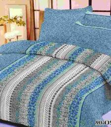 Buy Aria 100% cotton double blue printed bedsheet 1118f bed-sheet online