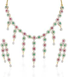 Buy Heena Contemporary collection Red & Green stone Necklace set >> HJNL137RG << party-jewellery online