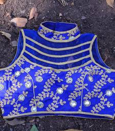Buy Royal Blue Banglore Silk Embroidered stitched blouse readymade-blouse online