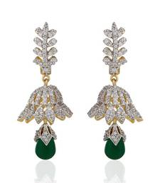 Buy Heena Trendy Hanging Green Pearl Earings >> HJER27G << party-jewellery online