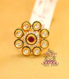 Buy Kundan Ruby enamelling Adjustable Ring Ring online